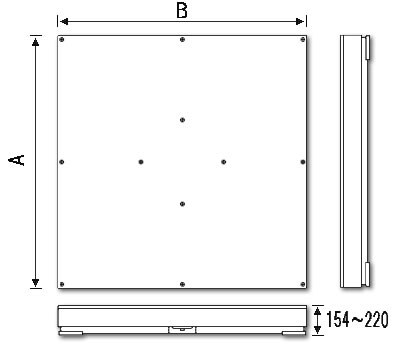 デジタル台はかり(地上/埋込両用型)寸法図